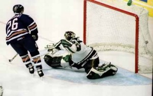 Todd Marchant upsets Andy Moog and the Dallas Stars in the 1997 Stanley cup playoffs